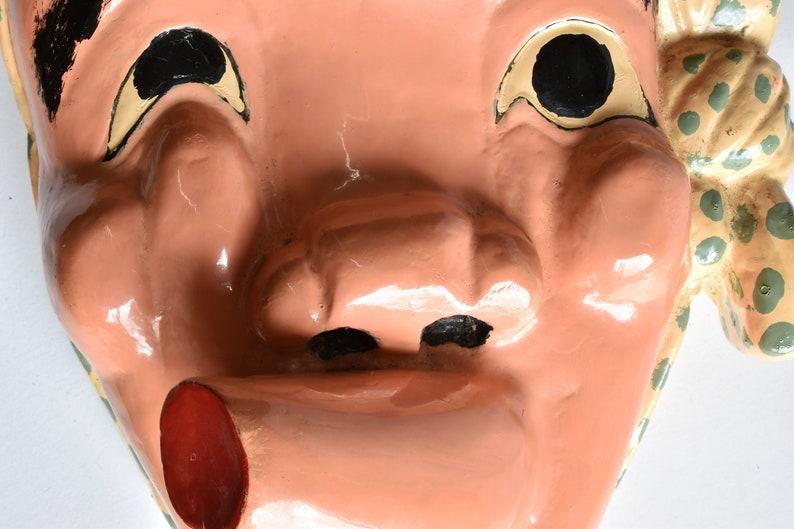 Japanese wooden theater mask Hyottoko Varnish Noh mask