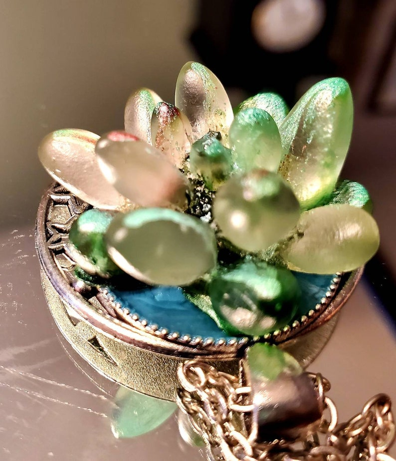 succulent necklace Gift for her Mothers day succulent pendant