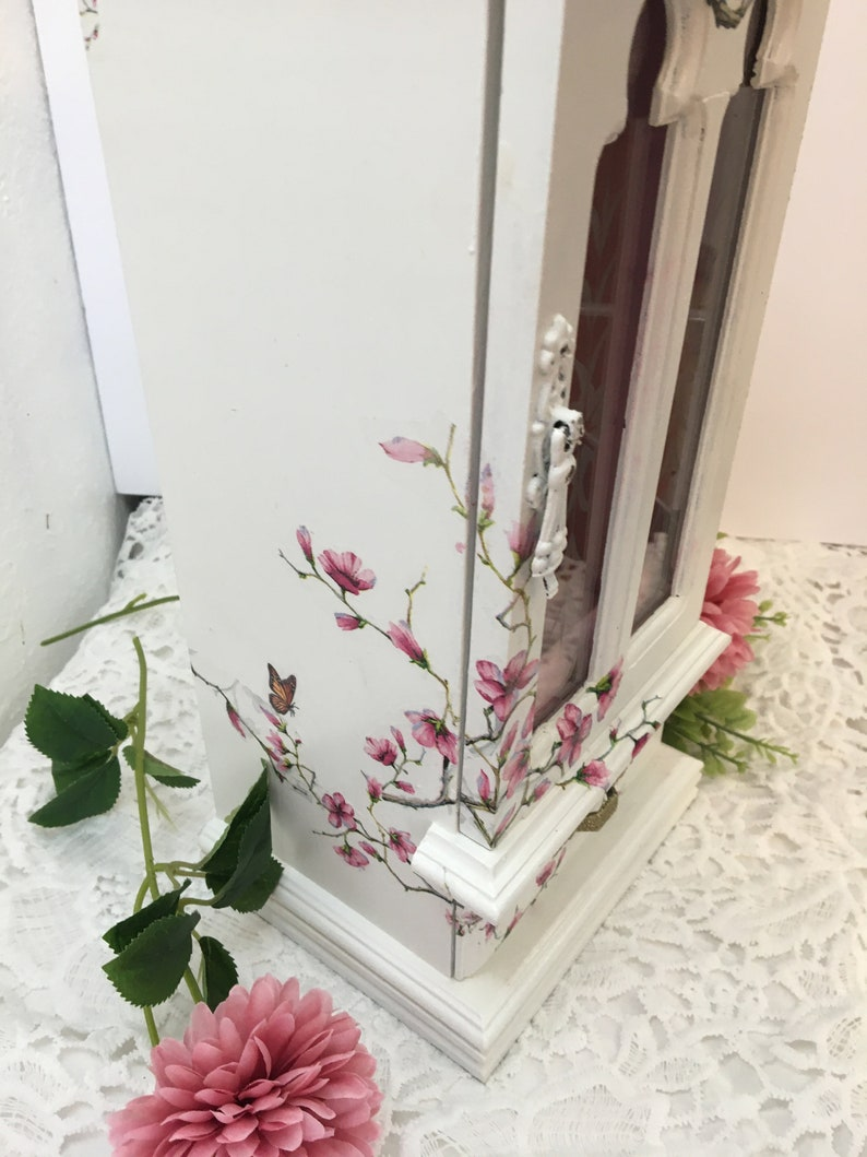 Jewelry Box Vintage Floral Pink Wood Jewelry Box Cherry Blossom Upcycled Refinished Jewelry Box Flowers Bedroom