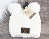 Baby Ivory Double Pom Beanie with LV Monogram Patch