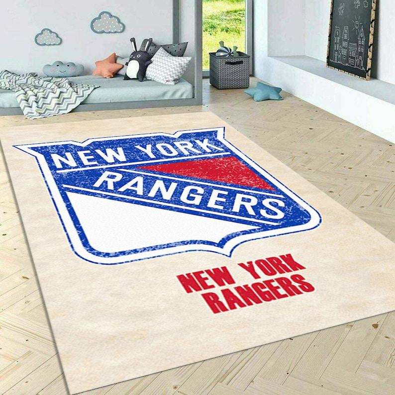 New york rangers rug Distressed Sports Area Rug American sport art Sport room Carpet Decor floor carpet