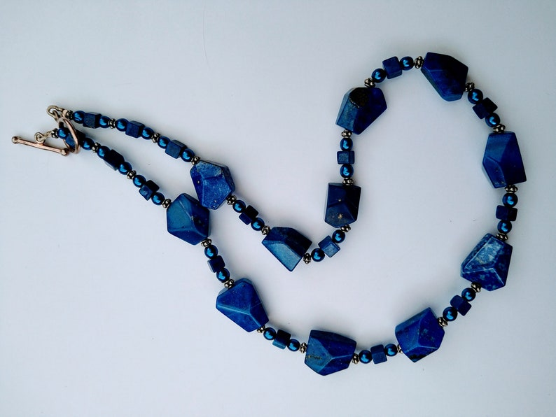 lapis lazuli necklace with bali silver beads