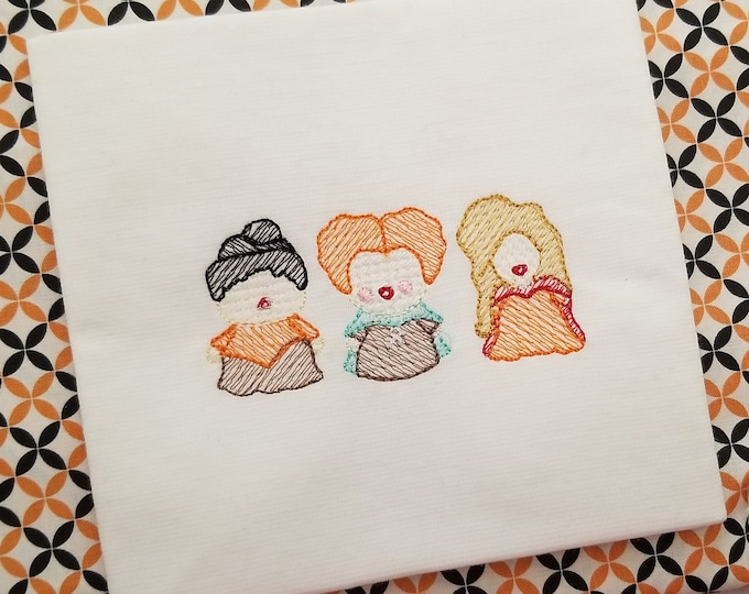 Witch Sisters - Amuck - Halloween Tshirt - Witch Trio - Embroidered - Halloween - Personalize