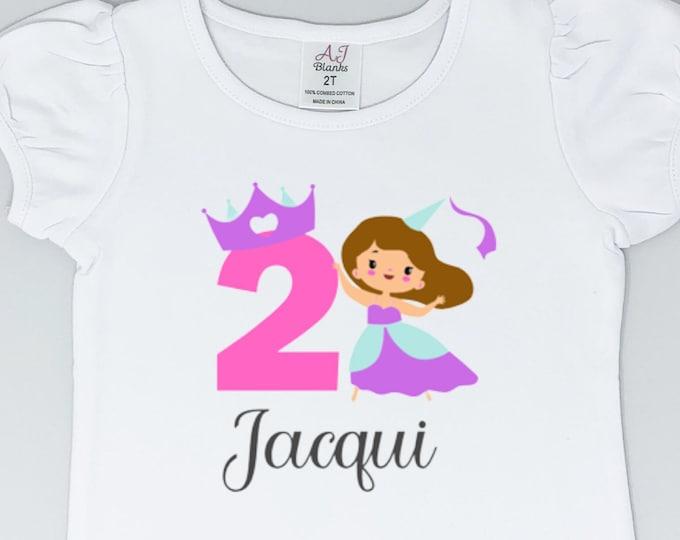 Princess Birthday Shirt   Personalized Birthday Shirt   Princess Crown   Princess Party   Birthday Girl Shirt   Girls Birthday Number Shirt