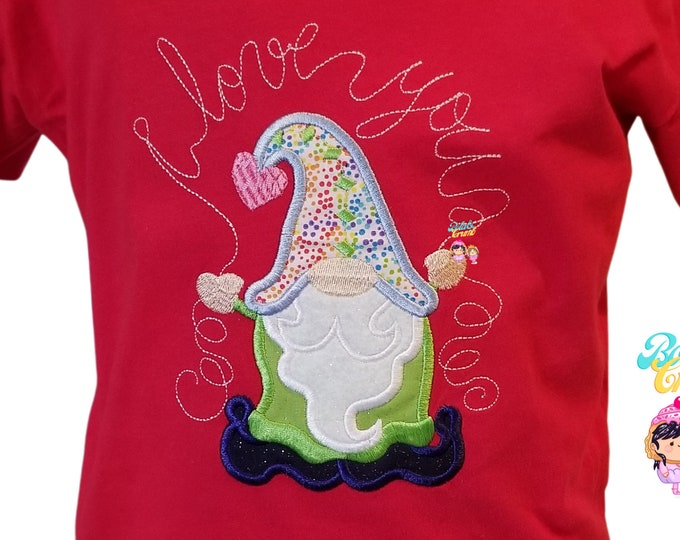 I Love You, Gnome, Valentine's Day, Bibs and Bodysuits for Infants and Toddlers, Embriodered