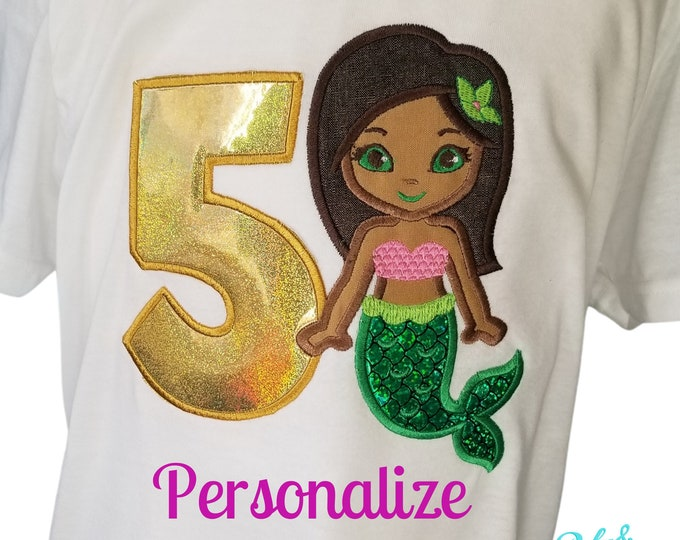 Ethnic Mermaid - dark hair - brown skin-Custom Embroidered Birthday T-Shirt in Youth Sizes -