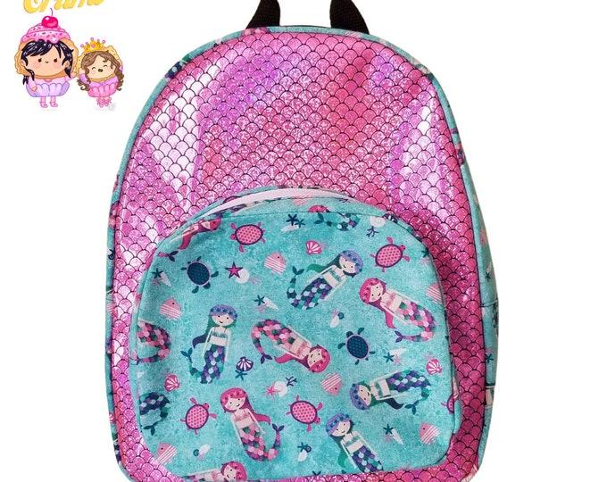 Mermaid Fun Sized Backpack - Pink Glitter - Mermaid Scales