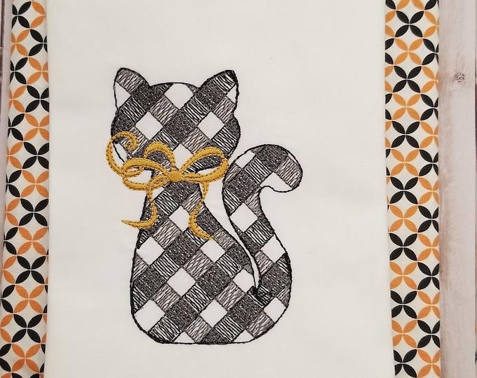Gingham Black Cat - Halloween Cat - Plaid Cat - Halloween Tshirt - Embroidered - Girls Halloween - Personalize