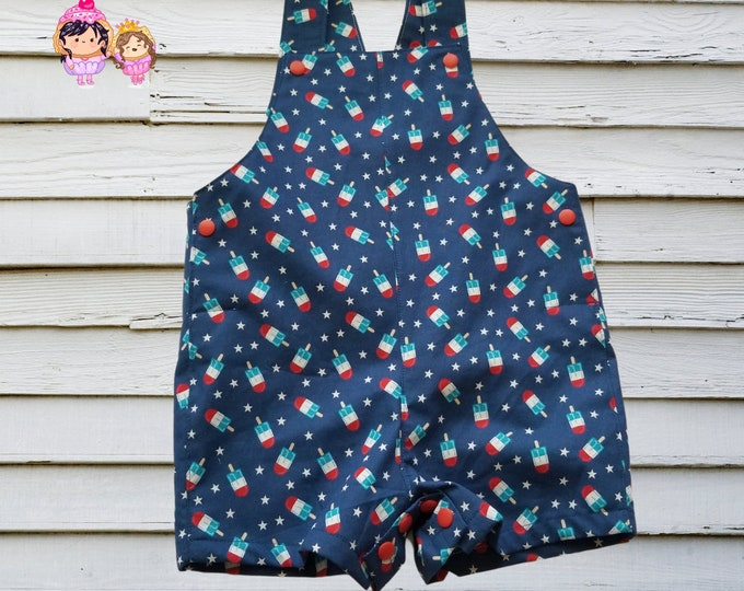 Overalls - Infant Sizes - Boys/Girls - Summer Rompers - Jumpsuit - Popsicle - 4th of July