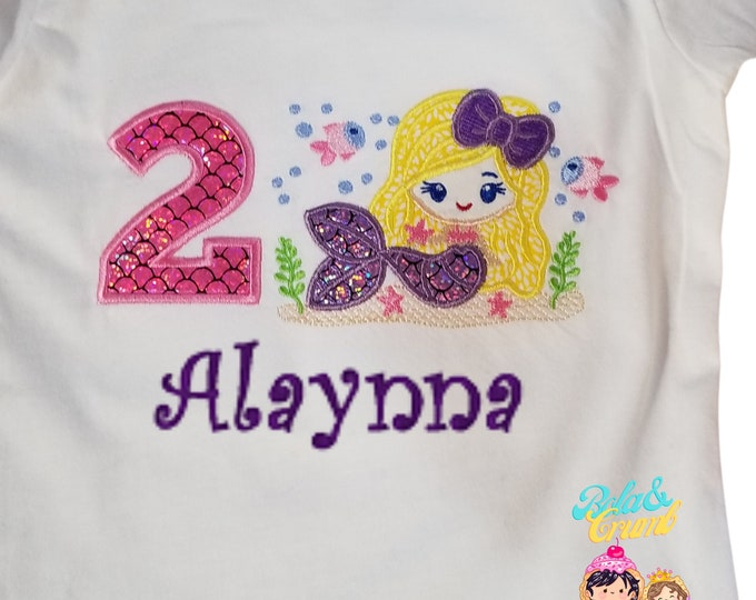 Mermaid Under the Sea -Custom Embroidered Birthday T-Shirt in Youth Sizes -