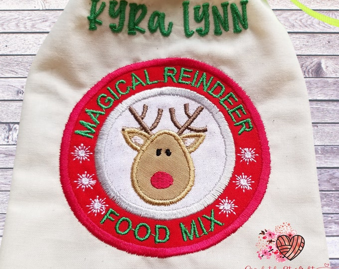 Personalized Reindeer Food Christmas Eve Tradition Bag and Reindeer Food Mix