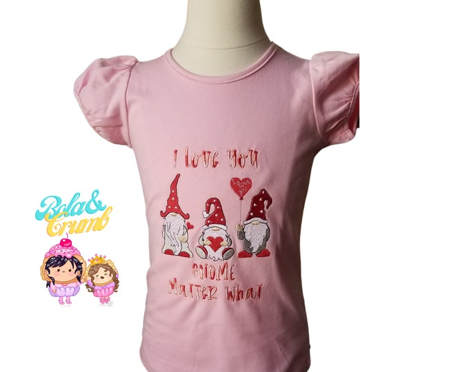 Custom Embroidered Valentine's Day T-Shirt in Youth Sizes - I Love You Gnome Matter What