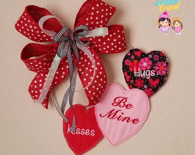 Be Mine - Hugs - Kisses / Valentine's Day Wreath / Embroidered / Customizable