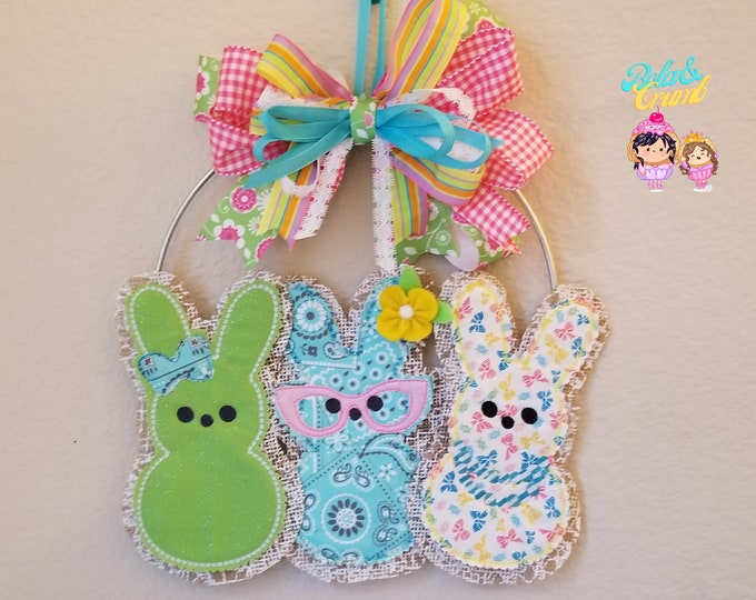 Peeps on a Wreath - Easter/Spring Wall Art - Embroidered