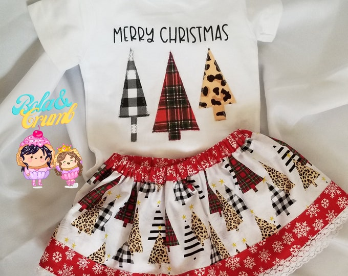 Christmas Skirt Set   Holiday T-shirt with Matching Skirt   Christmas Tree Trio   Christmas Skirt   Holiday Outfit   Christmas Tshirt