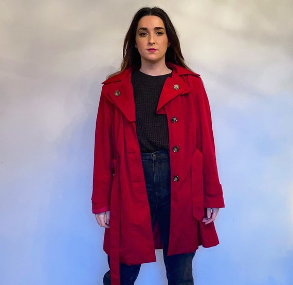 London Fog Red Trench Coat with hood