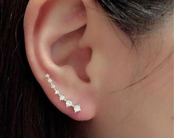 Designer Luxury Diamond Clip Cuff Earrings Silver/Gold Plated