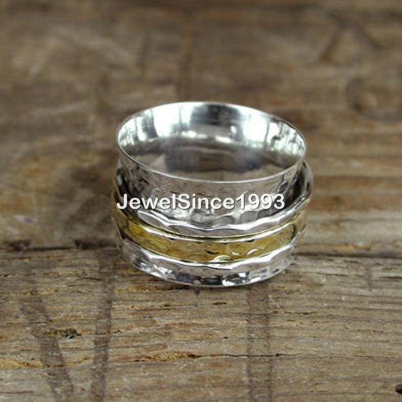 Worry Ring Chunky Fidget Meditation Ring Rings for Women Bands 925 solid Sterling Silver Ring Brass tone Band boho ring Spinner Ring