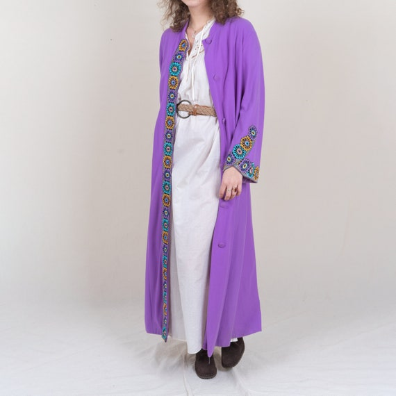 Vintage Purple Silk Middle Eastern Bohemian Jacket with Glass and Metal Threading
