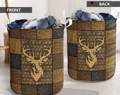 Deer Hunting Synthetic Wicker Basket Laundry Hamper Canvas Basket Bin Storage Dirt Clothes Book Toys Nursery Kids Room Birthday Patrick Day
