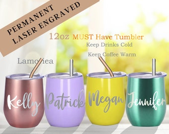 Engraved Wine Tumbler, Wine Cup with Lid, Personalised Wine Tumbler, Custom Wine Tumbler, Bachelorette Party Favor, Bridesmaid Gift,Mom Gift