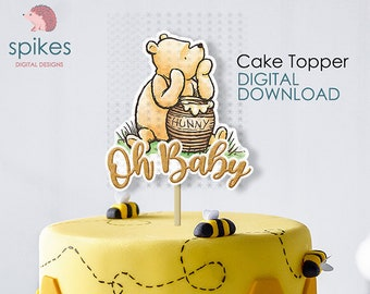 CLASSIC WINNIE The POOH Vintage Pooh Cake Topper Baby Shower Winnie the Pooh Birthday Baby Pooh Baby Piglet Baby Tigger Baby Eeyore