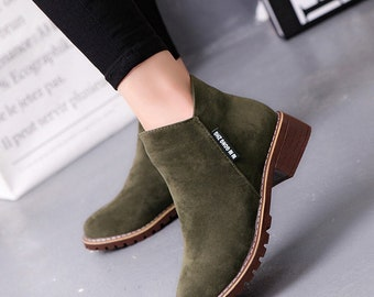 Women's frosted martin boots low-heeled ankle boots