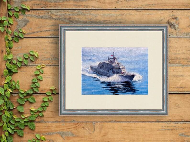 USS LCS-9 Little Rock Painting Military Seascape Original Art USA Battleship Small Artwork 5 by 7 inches by NadiaOriginalArt