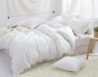 White Cotton Fringes Tassels Duvet Cover, Boho Bedding, Exclusive Comforter Cover, Queen/king/Twin/Full/Double Size Duvet Cover With Pillow