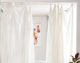 White Cotton curtains, Boho curtains, Window curtain 2 panels, Custom drapery panels with Loops for hanging, Handmade window treatments