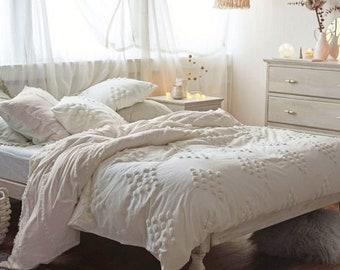 White & Ivory Dot Tufted Duvet Cover 100% Cotton Stylish Duvet Cover Uo Bedding Queen size duvet cover king duvet Boho Duvet Full Duvet