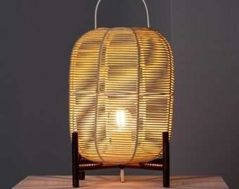 Wooden Shoji Bedside Lamp | Mid Century Table Lamp, Tea Party Decorations