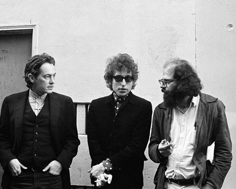 Allen Ginsberg and Michael McClure  1965 Photo by Larry Keenan Black and White Print Bob Dylan