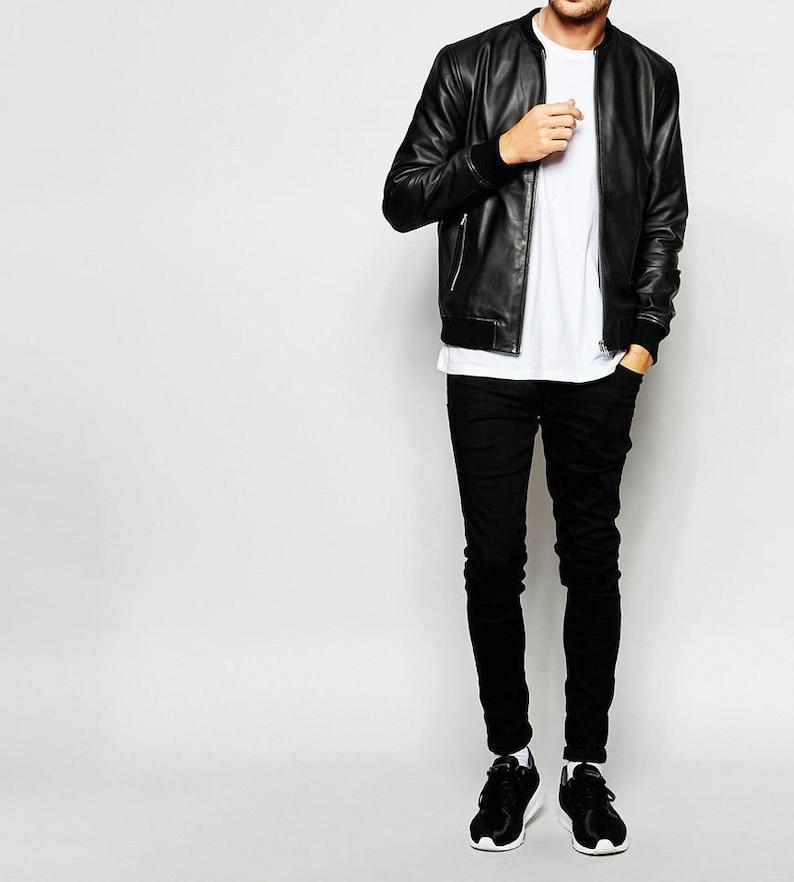 Handmade Men Black Lambskin Leather Moto Jacket Coat for Men