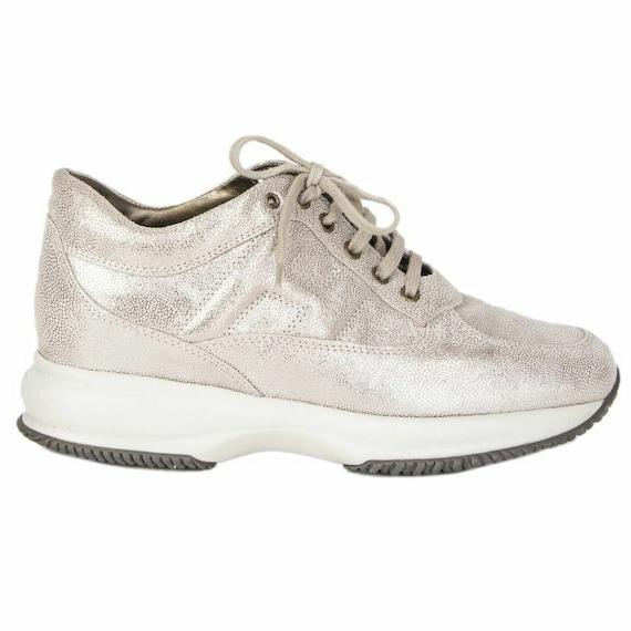 56902 auth HOGAN metallic beige & silver leather P