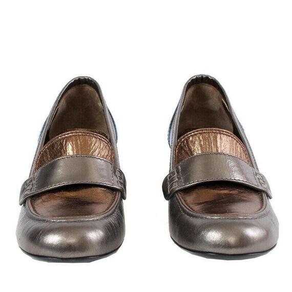 38154 auth LANVIN metallic silver bronze blue leat
