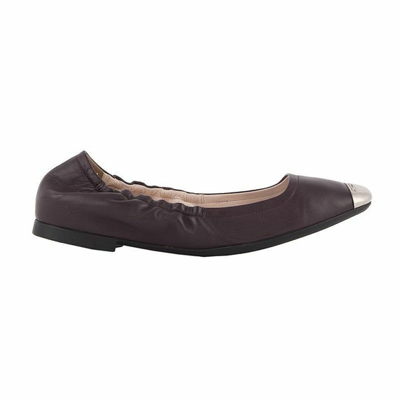 52676 auth BALLY eggplant leather & silver Ballet
