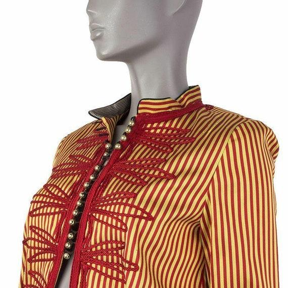 53308 auth ETRO red & yellow STRIPED silk Mandari… - image 2