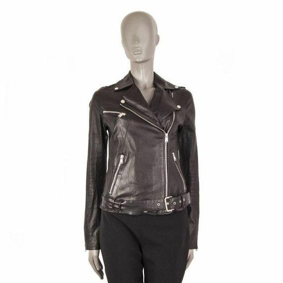 55360 auth JITROIS black leather BELTED BIKER Jack