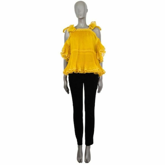 58836 auth CHLOE mustard yellow silk COLD SHOULDER