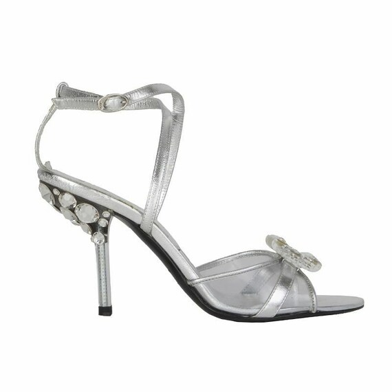 53680 auth CHRISTIAN DIOR silver leather EMBELLISH
