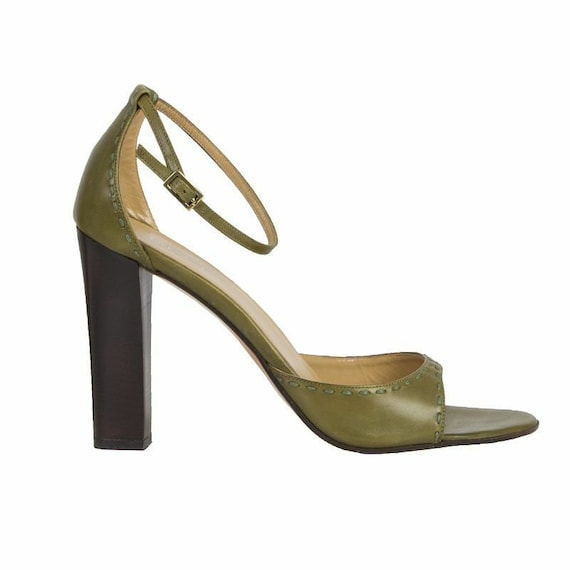53342 auth GUCCI pale green leather Ankle-Strap Sa