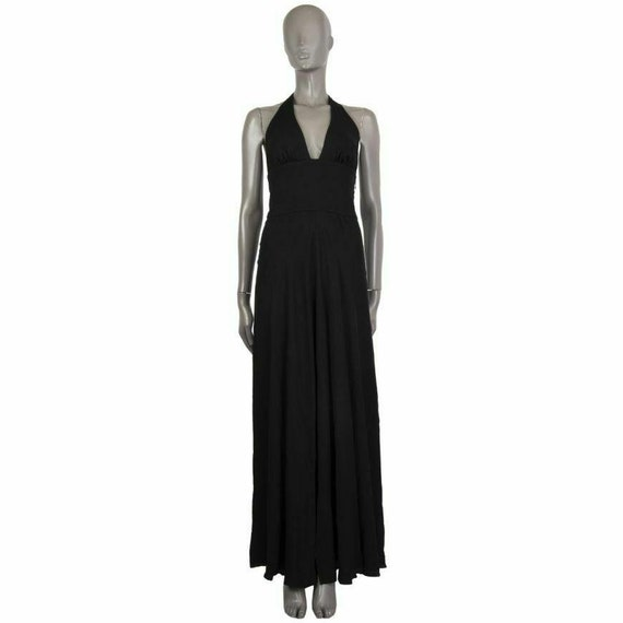 59643 auth VALENTINO black silk HALTER GOWN Dress