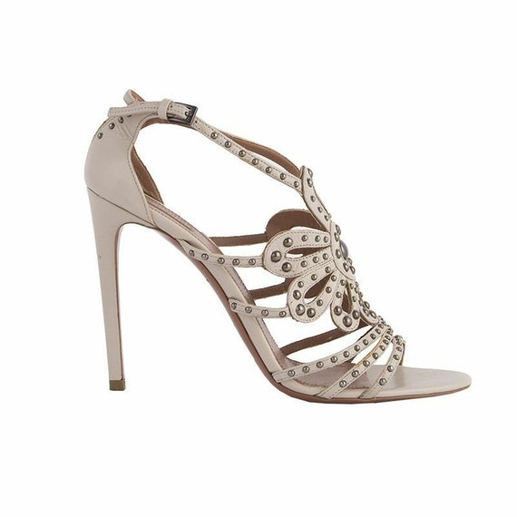52272 auth ALAIA pale beige leather STUDDED Sandal