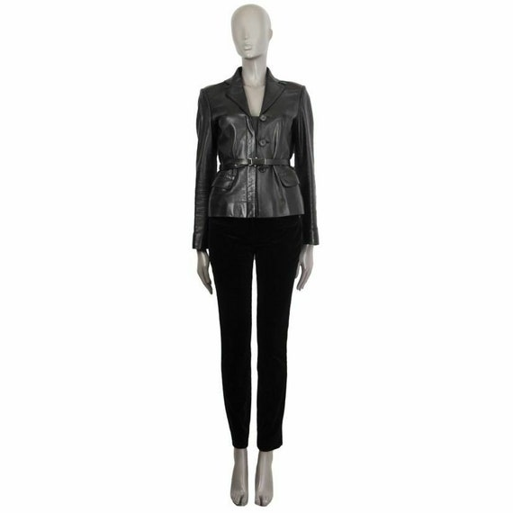 59096 auth PRADA black leather Belted Blazer Jacke