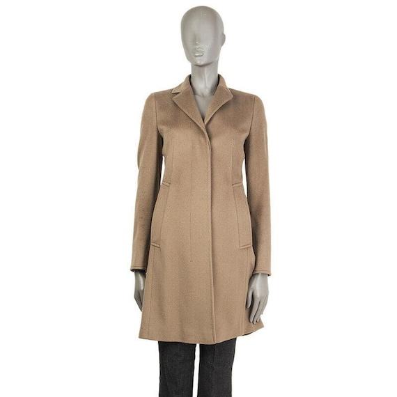 54393 auth AKRIS PUNTO tan camel wool Classic Coat