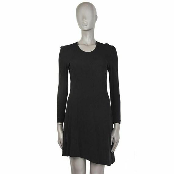 54292 auth PRADA black rayon jersey Long Sleeve Dr