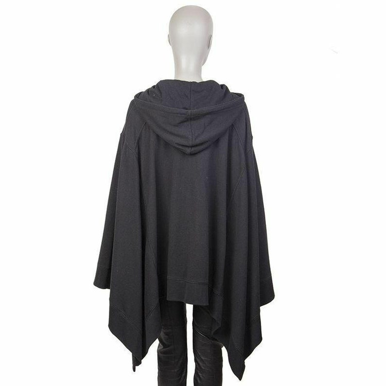 55663 auth T Alexander Wang black cotton HOODED PONCHO cape Coat Jacket xs