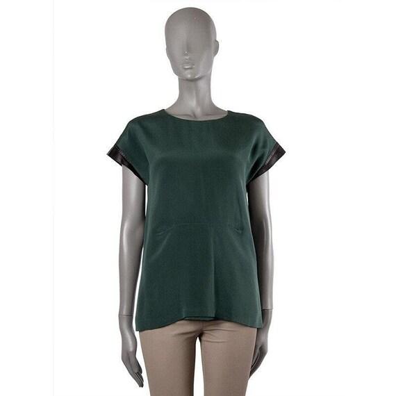 51721 auth BALLY forest green silk Cap Sleeve Blou