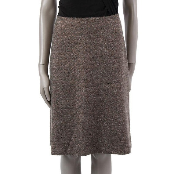 7375 auth CHANEL grey & bronze wool  lurex Knee-Le